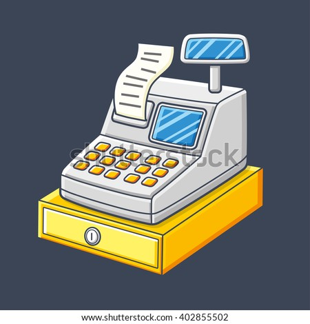 Cash register with a receipt and a cash box icon. - stock vector