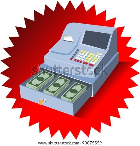 cash register with money - stock vector