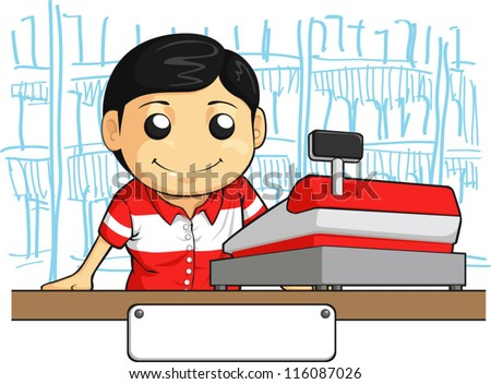 Cashier Employee with Friendly Smile - stock vector