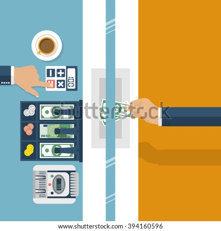 Cashier in bank. Worker bank, financial specialist, cash, currency exchange. Vector illustration, flat design style. Cashier window. Customer service bank. Cash register, money. Finance and money. - stock vector