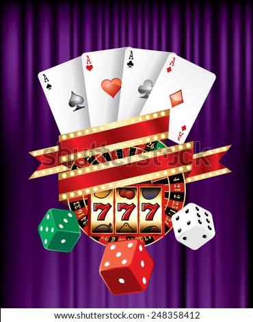 casino and gambling icons on purple velvet with blank banner - stock vector