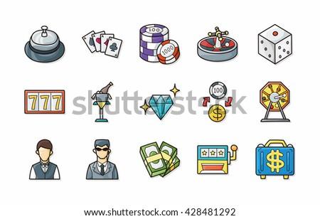 Casino and gambling icons set,eps10 - stock vector