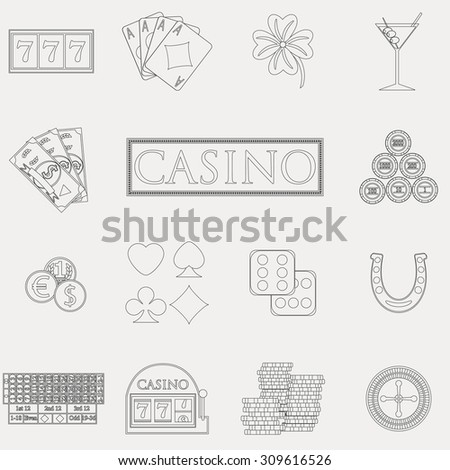 Casino and gambling line icons set with slot machine and roulette, chips, poker cards, money, dice, coins, horseshoe flat design vector illustration  - stock vector