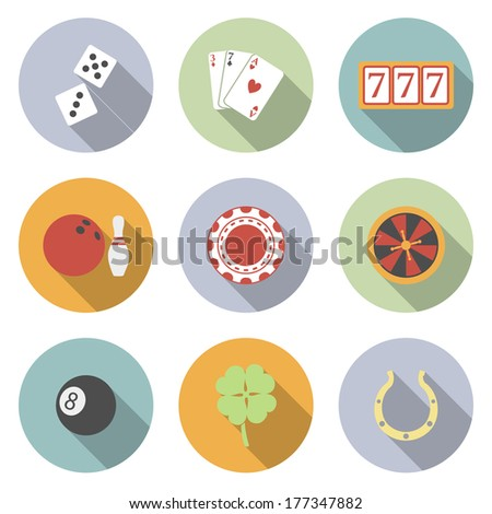 Casino and Gambling Vector Flat Icons for Web and Mobile Applications. - stock vector