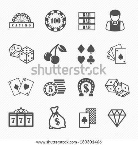 Casino and gambling vector icons set - stock vector