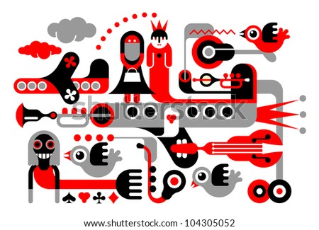 Casino art illustration. Red, black and grey elements on white background.