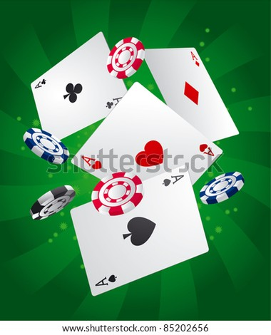 Casino background Aces and poker chips - stock vector