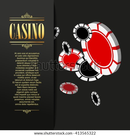 Casino background. Vector Poker illustration. Gambling template. Casino design with flying poker chips.  Vector casino gambling illustration. Casino design. Casino poker background.  - stock vector