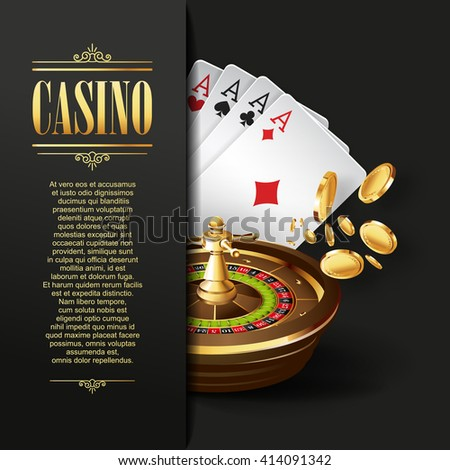Casino background. Vector Poker illustration. Gambling template. Casino design with roulette wheel and  playing cards. Four aces. Casino gambling design. Casino games. Casino template. Roulette wheel. - stock vector