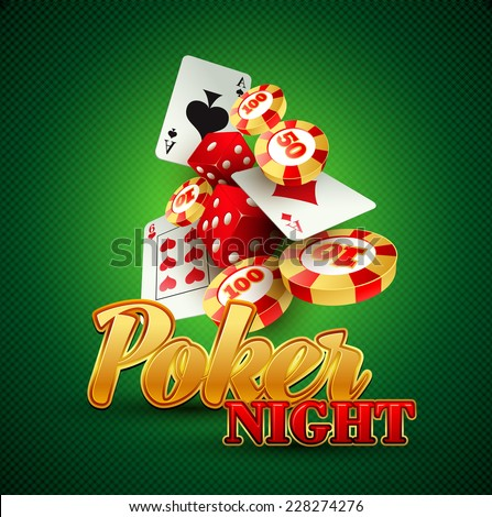 Casino background with cards, chips, craps. Vector illustration - stock vector