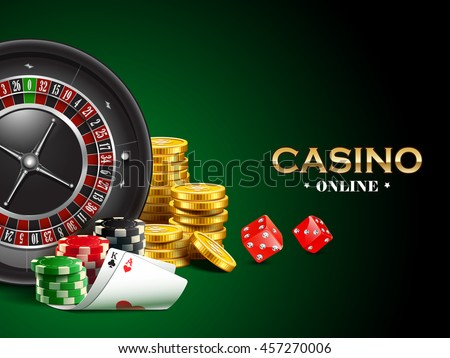 Casino background with dice, golden coins, cards, roulette and chips.