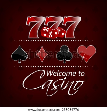 Casino background with lucky seven symbol and gaming elements/vector illustration