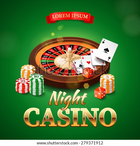 Casino background with roulette wheel, chips, game cards and dice. Vector illustration. - stock vector