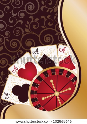 Casino banner with poker cards and roulette, vector illustration