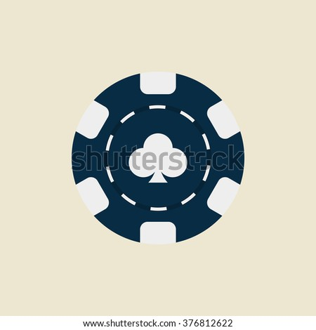 Casino chip flat icon. Clubs. Vector icon. Editable icon