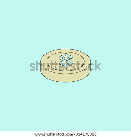 Casino chip. Flat simple line icon. Retro color modern vector illustration pictogram. Collection concept symbol for infographic, logo and project - stock vector