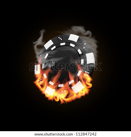 Casino Chip in Fire vector illustration - stock vector