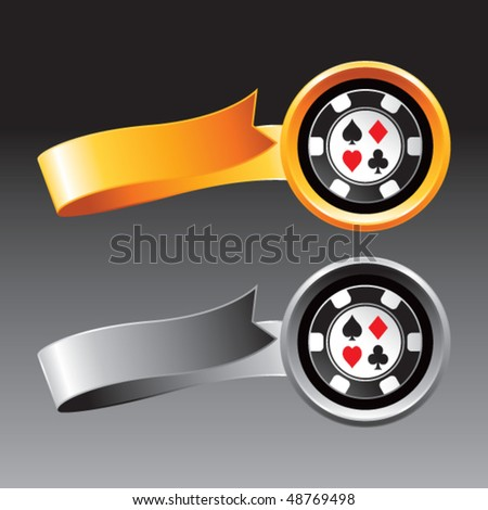casino chip orange and gray ribbons