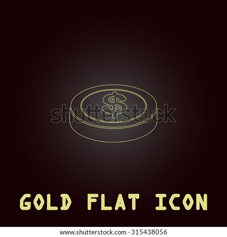 Casino chip. Outline gold flat pictogram on dark background with simple text.Vector Illustration trend icon - stock vector