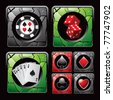 Casino chip, red dice, cards, and card suits - stock photo