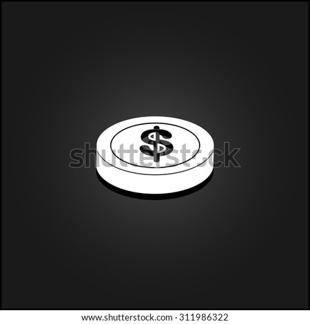 Casino chip. White flat simple vector icon with shadow on a black background - stock vector