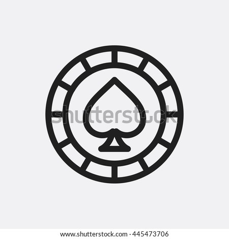Casino chip wigh spades icon illustration isolated vector sign symbol - stock vector