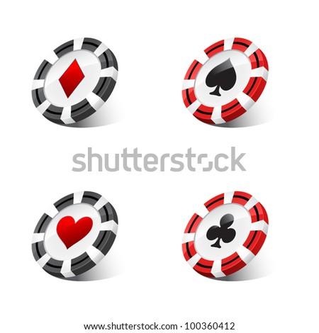 casino chips against white background - stock vector