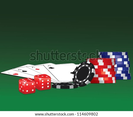 Casino chips, dices and playing cards over green background - stock vector