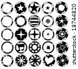 casino chips in black and white - stock vector