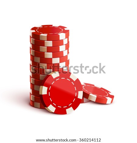 casino chips isolated on white realistic theme - stock vector