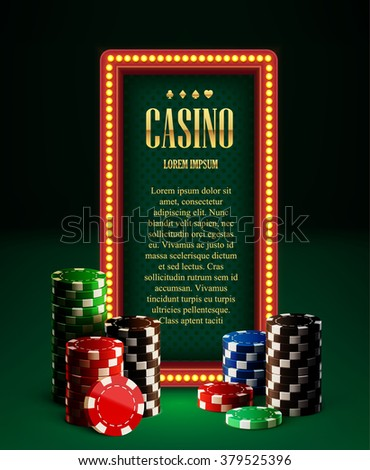 casino chips lamp vintage banner and cards - stock vector
