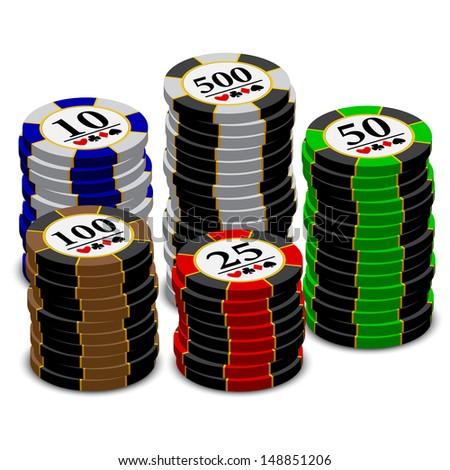 Casino chips stacks. Vector.  - stock vector