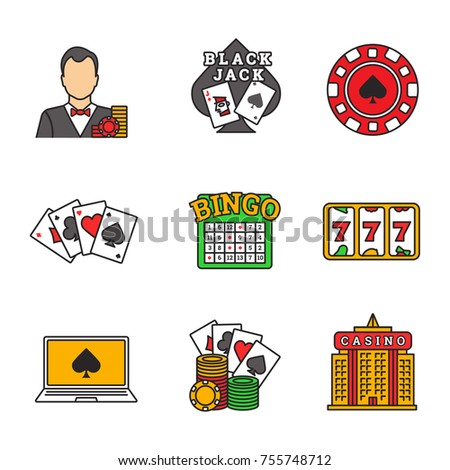 Casino color icons set. Croupier, blackjack, casino chip, four aces, lucky seven, bingo, online poker, casino building. Isolated vector illustrations