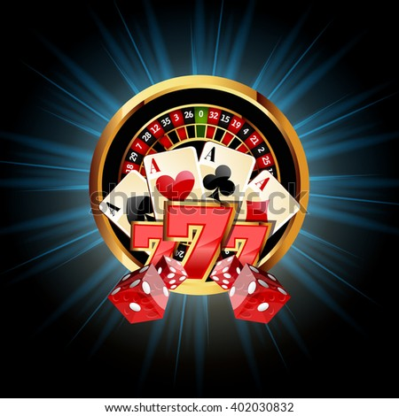 Casino  Composition with Roulette Wheel, Playing Cards ans Dice. Casino Gambling Vector Illustration. Casino background with Sevens. Casino gambling vector design  roulette wheel. Casino background. - stock vector
