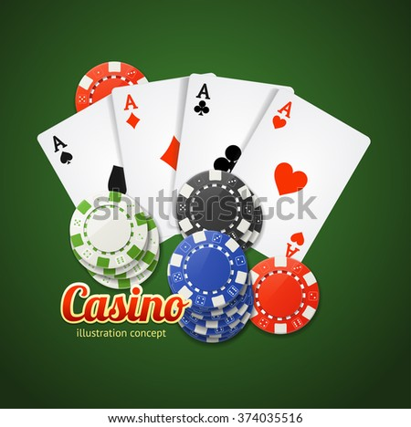 Casino Concept with Inscription on Green. Vector illustration - stock vector