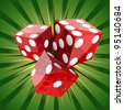 Casino craps red dice on green background. - stock photo