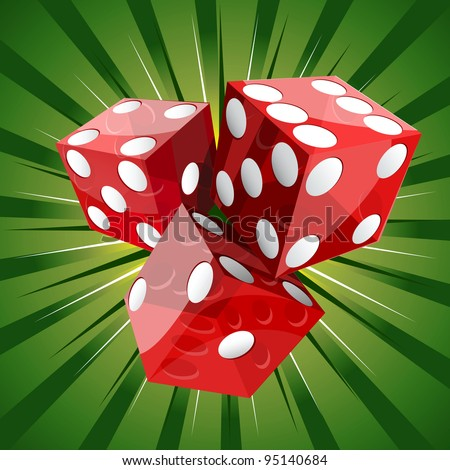 Casino craps red dice on green background. - stock vector