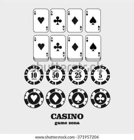 Casino  design elements vector icons. Casino games.Ace playing cards with chips on green background.Set of gambling chips. - stock vector