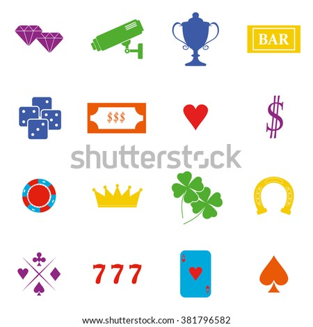 Casino  design elements vector icons. Casino games.Ace playing cards with chips on green background.Set of gambling chip