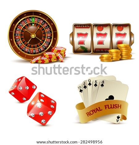 Casino design elements with cards, chips, slot machine, dice and roulette.  - stock vector