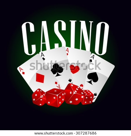 Casino dice and poker cards icon on black and green background, for gambling design - stock vector