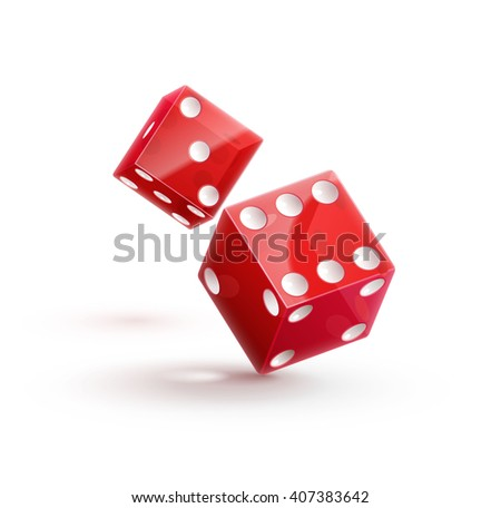casino dice, dice icon, dice isolated on white,dice 3d object, red dice, dice with shadow, dice in air, dice fall down - stock vector