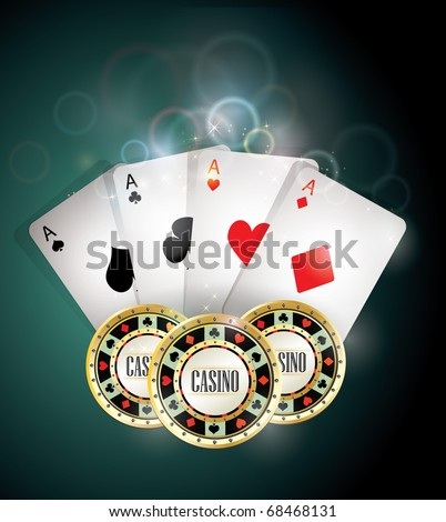 Casino elements/Poker cards and chips - stock vector