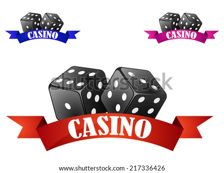 Casino emblem or badge with two dice over a red ribbon banner with the word Casino isolated on white background - stock vector