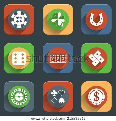 Casino flat design elements with card money roulette wheel icons set isolated vector illustration - stock vector
