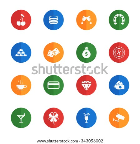 Casino  flat icons for media