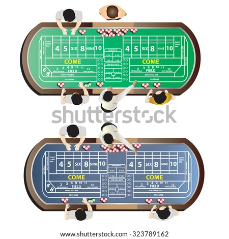 Casino furniture , craps table top view set 9 for interior, vector illustration - stock vector