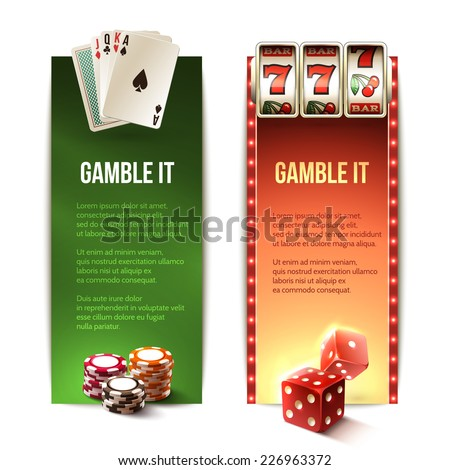 Casino gamble it vertical banners set with cards chips slot machine dice isolated vector illustration - stock vector