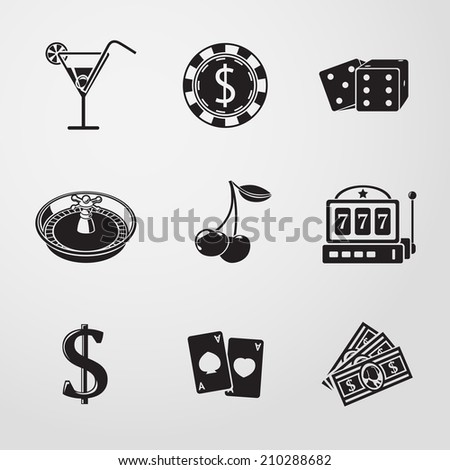 Casino (gambling) monochrome icons set with - dice, poker cards, chip, cherry, slot machine, roulette, martini drink, money, dollar sign. vector - stock vector