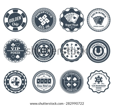 Casino gambling poker clubs golden chip and royal flush symbols black labels set abstract isolated vector illustration - stock vector